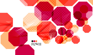 Bright red textured geometric shapes isolated on white - modern design templateのイラスト素材 [FYI03093507]