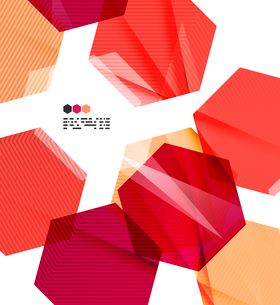Bright red textured geometric shapes isolated on white - modern design templateのイラスト素材 [FYI03093508]