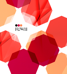 Bright red textured geometric shapes isolated on white - modern design templateのイラスト素材 [FYI03093514]