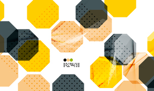 Bright yellow and dark textured geometric shapes isolated on white - modern design templateのイラスト素材 [FYI03093516]