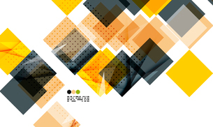 Bright yellow and dark textured geometric shapes isolated on white - modern design templateのイラスト素材 [FYI03093519]