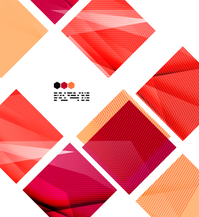 Bright red textured geometric shapes isolated on white - modern design templateのイラスト素材 [FYI03093521]