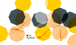 Bright yellow and dark textured geometric shapes isolated on white - modern design templateのイラスト素材 [FYI03093522]