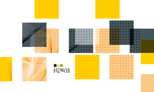 Bright yellow and dark textured geometric shapes isolated on white - modern design templateのイラスト素材 [FYI03093524]