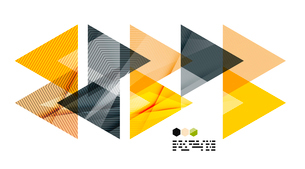 Bright yellow and dark textured geometric shapes isolated on white - modern design templateのイラスト素材 [FYI03093525]