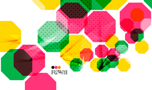 Bright colorful textured geometric shapes isolated on white - modern design templateのイラスト素材 [FYI03093531]