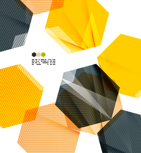 Bright yellow and dark textured geometric shapes isolated on white - modern design templateのイラスト素材 [FYI03093537]