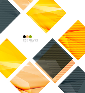 Bright yellow and dark textured geometric shapes isolated on white - modern design templateのイラスト素材 [FYI03093538]
