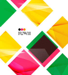 Bright colorful textured geometric shapes isolated on white - modern design templateのイラスト素材 [FYI03093547]