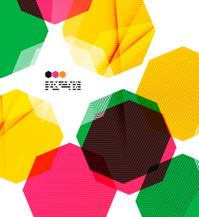 Bright colorful textured geometric shapes isolated on white - modern design templateのイラスト素材 [FYI03093553]