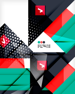 Hi-tech modern design template - futuristic modern straight geometric lines and shapes in glossy 3dのイラスト素材 [FYI03093880]