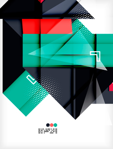 Hi-tech modern design template - futuristic modern straight geometric lines and shapes in glossy 3dのイラスト素材 [FYI03093882]