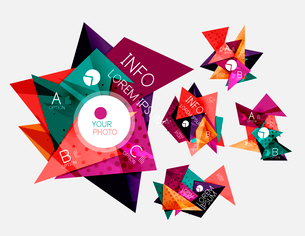 Collection of geometric shape triangle infographic layouts - origami option graphics layots made ofのイラスト素材 [FYI03095296]