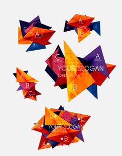Collection of geometric shape triangle infographic layouts - origami option graphics layots made ofのイラスト素材 [FYI03095299]
