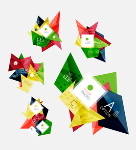 Collection of geometric shape triangle infographic layouts - origami option graphics layots made ofのイラスト素材 [FYI03095300]