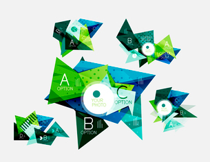 Collection of geometric shape triangle infographic layouts - origami option graphics layots made ofのイラスト素材 [FYI03095301]