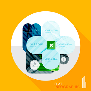 Modern geometric infographic in trendy flat style. Business abstract layout collectionのイラスト素材 [FYI03096042]