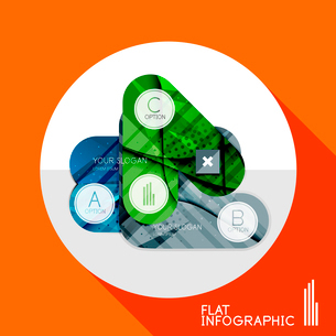 Modern geometric infographic in trendy flat style. Business abstract layout collectionのイラスト素材 [FYI03096046]