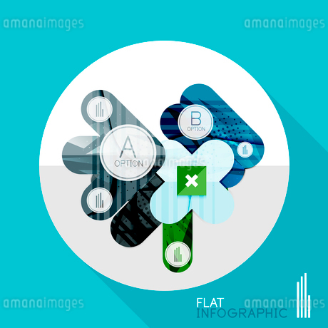 Modern geometric infographic in trendy flat style. Business abstract layout collectionのイラスト素材 [FYI03096052]