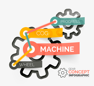 Gear infographic concept with tags on stickers connected to each otherのイラスト素材 [FYI03096214]
