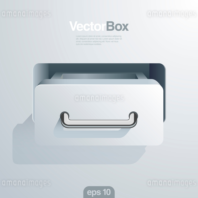Office document Storage Box open.  Information safe & integrated data concept.  Realistic vectorのイラスト素材 [FYI03096263]