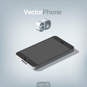 Smartphone abstract vector 3d. Mobile phone with touchscreen. High detail realistic illustration.のイラスト素材 [FYI03096266]