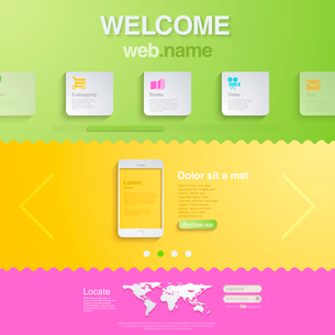 Website design template for mobile devices. HTML5 style. Trendy creative business concept. Modern. Eのイラスト素材 [FYI03096267]