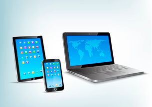 Abstract 3d devices: Tablet pc, laptop, smartphone vector perspective view. Notebook, mobile phone,のイラスト素材 [FYI03096271]