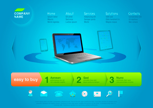 Website template: Notebook with touchpad & smartphone at the back. Business abstract online storのイラスト素材 [FYI03096277]