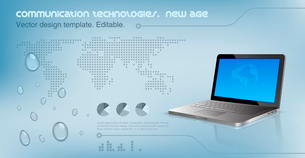 Laptop on the glossy hi-tech background.  World map on the background. Future technology concept. Deのイラスト素材 [FYI03096279]