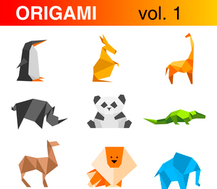 Origami animals logo template set 1: penguin, kangaroo, giraffe, rhinoceros, panda, crocodile, camelのイラスト素材 [FYI03096282]