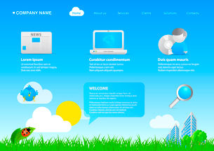 Website eco friendly business / cartoon stylish template. Ready to use webpage with logo, navigationのイラスト素材 [FYI03096284]