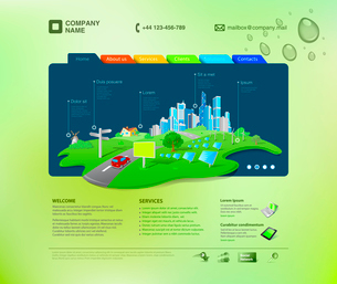 Website template. Infographics concept at the cap. Business promo. Vector. Editable.のイラスト素材 [FYI03096286]