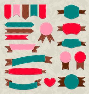 Illustration set retro ribbons, vintage labels, emblems - vectorのイラスト素材 [FYI03096287]
