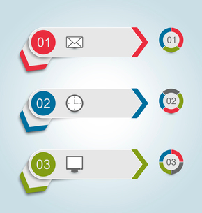 Illustration set paper labels with infographic icons - vectorのイラスト素材 [FYI03096325]
