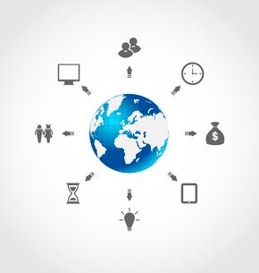 Illustration global internet communication, set business pictograms - vectorのイラスト素材 [FYI03096336]