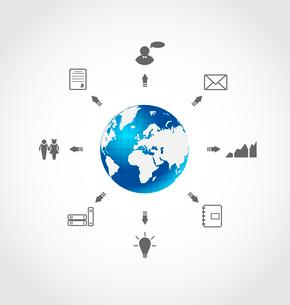 Illustration global internet communication, set business pictograms - vectorのイラスト素材 [FYI03096337]