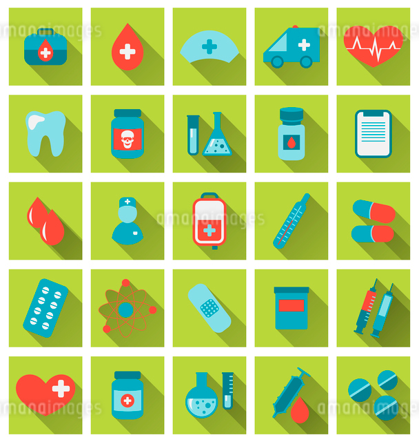 Illustration collection trendy flat medical icons with long shadow - vectorのイラスト素材 [FYI03096370]
