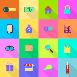 16 flat icons on a colored backgroundのイラスト素材 [FYI03096378]