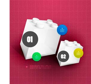 Modern toy blocks option steps bannerのイラスト素材 [FYI03096667]