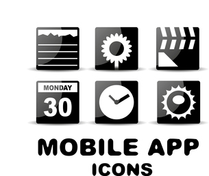 Vector black glossy square mobile app iconsのイラスト素材 [FYI03096677]