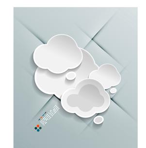 Paper cloud modern vector designのイラスト素材 [FYI03096757]