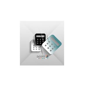 Calculator icon vector 3d paper designのイラスト素材 [FYI03096992]