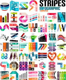 Big set of infographic modern templates - stripes, ribbons, lines. For banners, business backgroundsのイラスト素材 [FYI03097138]