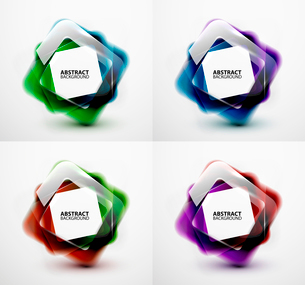 Glossy and blurred square vector banners templates set. Can be used as business background and infogのイラスト素材 [FYI03097226]