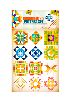 Abstract geometric vintage retro shapes for background creation. Creation kitのイラスト素材 [FYI03097230]