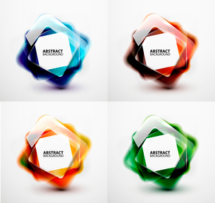 Glossy and blurred square vector banners templates set. Can be used as business background and infogのイラスト素材 [FYI03097259]