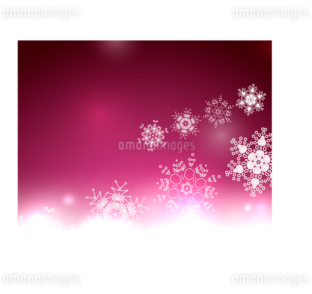 Purple Christmas lights and snowflakes. Elegant abstract background with bokeh lights and starsのイラスト素材 [FYI03097350]