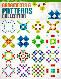 Abstract geometric square patterns shapes setのイラスト素材 [FYI03097458]