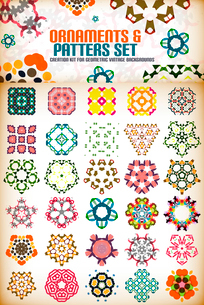 Abstract geometric vintage retro shapes for background creation. Creation kitのイラスト素材 [FYI03097466]